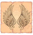 wings on the background of old paper design vector image vector image