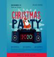 xmas party poster with santa claus dj new year vector image vector image