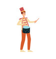 young man in parade costume with drum in flat vector image