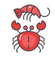 seafood shrimp crab concept line icon vector image