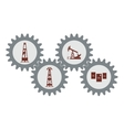 Set gear with silhouettes of the oil industry vector image