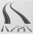 curved tire tracks stretching to the horizon vector image