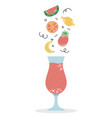a glass fruit smoothie proper diet vitamin vector image vector image