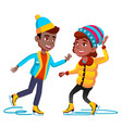 afro americal girl and boy in winter clothes vector image vector image