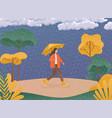 autumn concept woman holding an umbrella vector image