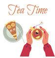 banner with table with cup tea and cake vector image vector image