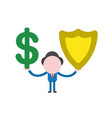 businessman character holding dollar and guard vector image vector image