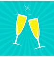 Champagne glasses Sunburst Card vector image
