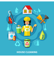 Cleaning House Round Composition vector image vector image