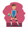 color scene with faceless woman volleyball player
