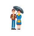 couple in love standing under umbrella cartoon vector image