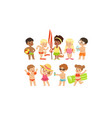 cute happy boys and girls playing swimming and vector image vector image