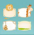 cute jungle animals label set vector image