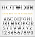 Dot Work Alphabet in 80s Retro Futurism style