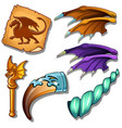 dragon set - wings picture horn and golden rod vector image
