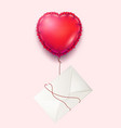 envelope heart balloon valentine day card vector image