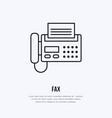 fax phone with paper page flat line icon wireless vector image