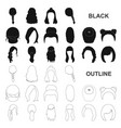 female hairstyle black icons in set collection for vector image vector image