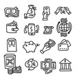 finance and banking outline icons vector image vector image