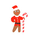 gingerbread man christmas in santa hat vector image vector image
