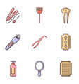 hairdressing salon icons set flat style vector image vector image