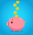 hand putting bitcoin dollar into saving piggy bank vector image vector image