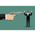 hand with a handgun robs a businessman vector image vector image