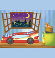 Kid bedroom with car shaped bed