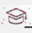 large group people in form graduate cap vector image