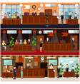 legal trial concept flat poster set vector image vector image