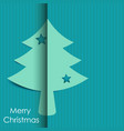 merry christmas tree paper with shadow background vector image