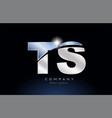 metal blue alphabet letter ts t s logo company vector image vector image