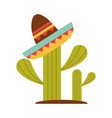 mexican hat on cactus decoration flat icon vector image vector image