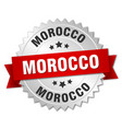 morocco round silver badge with red ribbon vector image vector image