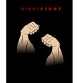 Night fight Fists of darkness Kick of night Two vector image