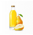 ripe pears juice in glass bottle vector image