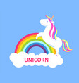 romantic unicorn with rainbow mane and sharp horn vector image