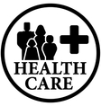 round health care icon with family vector image vector image