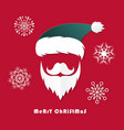 santa claus hat and beard in christmas dayorigami vector image vector image