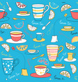 seamless pattern with lemon tea vector image