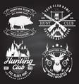 set hunting club badge on chalkboard vector image vector image