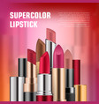 set of lipsticks for ads vector image