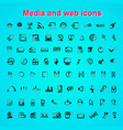 set outline quality icon media and web icons vector image