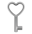 silver metal heart key shape vector image vector image