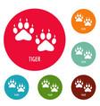 tiger step icons circle set vector image vector image