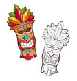 tiki tribal wooden mask vector image vector image