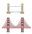 Tower and golden gate bridge vector image vector image