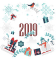 winter christmas new year elements set vector image