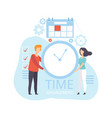 young man and woman holding wall clock business vector image
