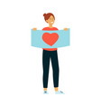 young smiling woman holding placard with heart vector image vector image